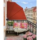 2 Stück Sichtschutz Fächer 115 x 115 cm EASY MOUNT Rotorange Blickdicht Balkon Trennwand Windschutz Sonnenschutz