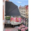 Sichtschutz Fächer 140 x140cm EASY MOUNT Anthrazit mit Wandplatte Balkon Trennwand Windschutz