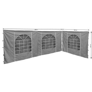 2 Seitenteile mit PVC Fenster 300x193cm / 400x193cm  für Pavillon Sahara 3x4m Seitenwand GRAU