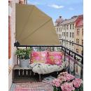 Sichtschutz Fächer 115 x 115 cm Sand blickdicht Balkon Trennwand Windschutz mit Wandplatte