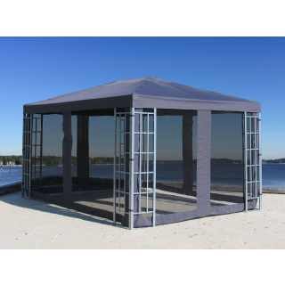 Metall Pavillon 3x4m Silver mit 4 Seitenteilen mit Moskitonetz Garten Partyzelt Anthrazit