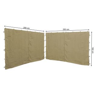 2 Seitenteile mit RV 250x192cm für Pavillon Nizza 3x3m Seitenwand Sand RAL 1001