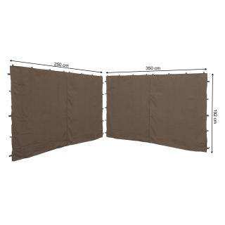 2 Seitenteile mit RV 250x192cm 350x192cm für Pavillon Nizza 3x3m Seitenwand Taupe RAL 7006