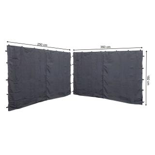 2 Seitenteile mit RV 250x192cm 350x192cm für Pavillon Nizza 3x4m Seitenwand Grau RAL 7012
