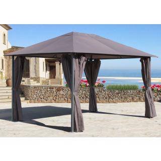 Metall Garten Pavillon Nizza 3x4m Taupe mit 4 Seitenteilen Partyzelt