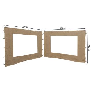 2 Seitenteile mit PE Fenster  300/400x197cm für Blätter Pavillon 3x4m Seitenwand Sand