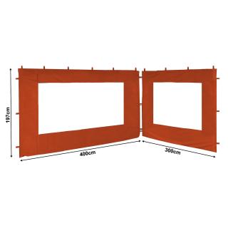 2 Side Panels with PE Window 300/400x195cm Orange-Red for Gazebo 3x4m