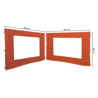 2 Side Panels with PE Window 300x195cm Orange-Red for Gazebo 3x3m