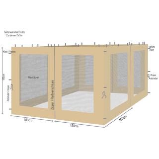 4 Seitenteile mit Moskitonetz für Blätter Pavillon 3x3m Seitenwand Sand