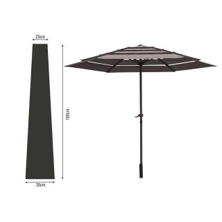 Schutzhülle Schwarz Länge 165cm für Sonnenschirme  bis Ø 300cm Schutzhaube Abdeckplane