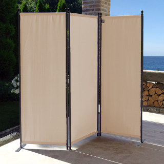 Paravent 170 x 165 cm Fabric Room Devider Garden 3-Part Patrition Wall Foldable Balcony Privacy Screen Beige