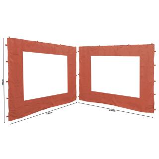 2 Seitenteile 250x190cm zu Gartenpavillon Antik Pavillon Partyzelt 3x3m Seitenwand Rotorange RAL 2001