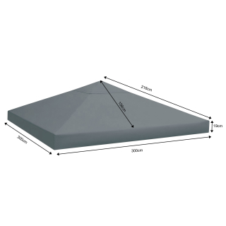 Replacement Roof for Rank Gazebo 3x3m Anthracite