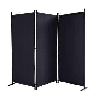 Paravent 170 x 165 cm Fabric Room Devider Garden 3-Part Patrition Wall Foldable Balcony Privacy Screen Black