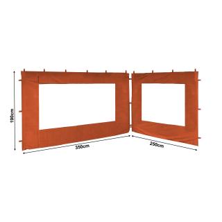 2 Seitenteile 250x190cm 350x190cm für Gartenpavillon Antik Pavillon Partyzelt 3x4m Rotorange RAL 2001