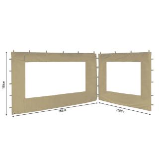 2 Seitenteile 250x190cm 350x190cm für Gartenpavillon Antik Pavillon Partyzelt 3x4m Sand