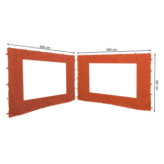 2 Side Panels with PE Window 300x197cm Orange-Red for Gazebo 3x3m