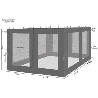 4 Seitenteile mit Moskitonetz für Rank Pavillon 3x3m Seitenwand Anthrazit RAL 7012