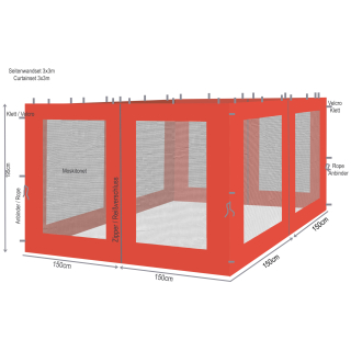 4 Side Panels with Mosquito Net 300x195cm Orange-Red for Gazebo 3x3m