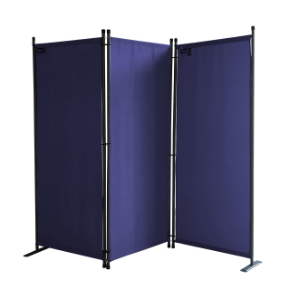 Paravent 3 Teilig 170 x 165 cm Stoff Raumteiler Trennwand Balkon Sichtschutz Stellwand Faltbar Blau
