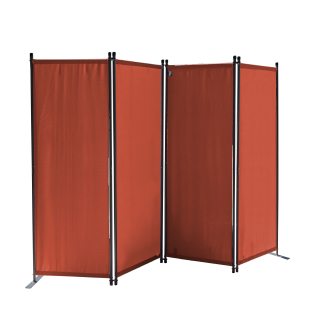 Paravent 220 x 165 cm Fabric Room Devider Garden 4-Part Patrition Wall Foldable Balcony Privacy Screen Orange-Red