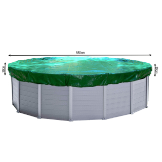 Winter Swimming Pool Cover Round 180g/m² for Poolsize 500 - 550 cm Tarpaulin dimension ø 610 cm Green