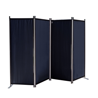 Paravent 220 x 165 cm Fabric Room Devider Garden 4-Part Patrition Wall Foldable Balcony Privacy Screen Black