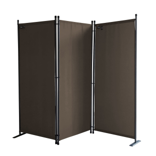 Paravent 170 x 165 cm Fabric Room Devider Garden 3-Part Patrition Wall Foldable Balcony Privacy Screen Grey-Brown