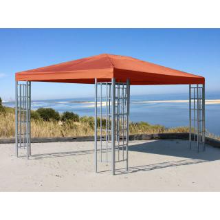 Rank Pavillon 3x4m Metall Garten Partyzelt Terra / Rotorange RAL 2001