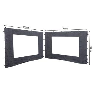 2 Seitenteile mit PE Fenster  300/400x197cm für Rank Pavillon 3x4m Seitenwand Anthrazit RAL 7012