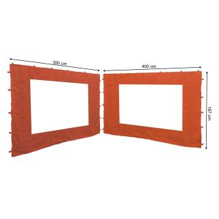 2 Seitenteile mit PE Fenster  300/400x197cm für Rank Pavillon 3x4m Seitenwand Terra / Rotorange RAL 2001