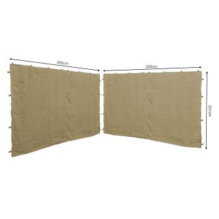 2 Seitenteile 295x201cm für Pavillon Roma 3x3m Seitenwand Sand
