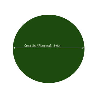 Winter Swimming Pool Cover Round 180g/m³ for Poolsize 250 - 280 cm Tarpaulin dimension ø 340 cm Green