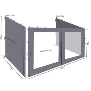 3 Seitenteile Rank Anbau 3x4m Anthrazit