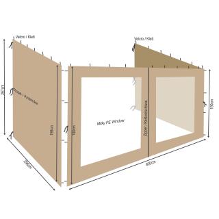 3 Seitenteile zu Rank Anbau Pavillon 3x4m Sand
