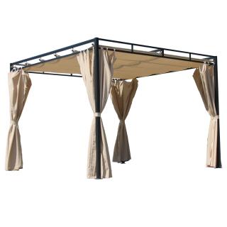 Ersatzdach für Flachdach Pergola Firenze 3x3m Pergoladach Bezug Sand