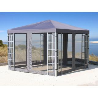 Rank Pavillon Set 3x3m Metall Garten Partyzelt Anthrazit mit 4 Seitenteilen mit Moskitonetz