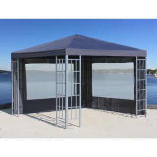 Rank Pavillon Set 3x3m Metall Garten Partyzelt Anthrazit mit 2 Seitenteilen mit Fenster