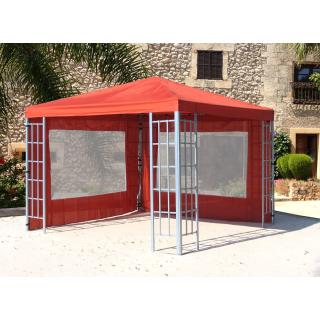 Rank Pavillon Set 3x3m Metall Garten Partyzelt Terra / Rotorange RAL 2001 mit 2 Seitenteilen mit Fenster