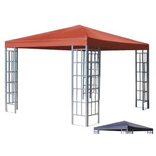 Rank Pavillon Set 3x3m Metall Garten Partyzelt Terra / Rotorange RAL 2001 mit extra Ersatzdach