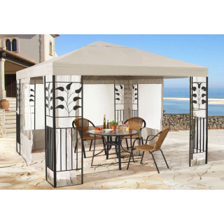 Garten Blätter Pavillon 3x3m Sand Partyzelt Metall Carport mit 4 Seitenteilen mit Moskitonetz