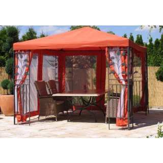 Garten Blätter Pavillon 3x3m Terra / Rotorange RAL 2001 Partyzelt Metall Carport mit 4 Seitenteilen mit Moskitonetz
