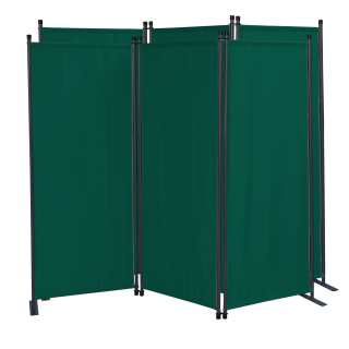 2 Piece Paravent 170 x 165 cm Fabric Room Devider Garden 3-Part Patrition Wall Foldable Balcony Privacy Screen Green
