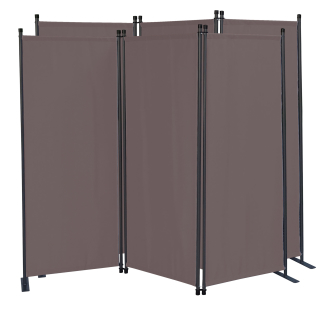 2 Piece Paravent 170 x 165 cm Fabric Room Devider Garden 3-Part Patrition Wall Foldable Balcony Privacy Screen Grey-Brown