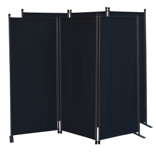 2 Piece Paravent 170 x 165 cm Fabric Room Devider Garden 3-Part Patrition Wall Foldable Balcony Privacy Screen Black