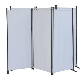 2 Stück Paravent 3 Teilig 170 x 165 cm Stoff Raumteiler Trennwand Balkon Sichtschutz Stellwand Faltbar Weiß