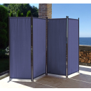 2 Piece Paravent 220 x 165 cm Fabric Room Devider Garden 4-Part Patrition Wall Foldable Balcony Privacy Screen Blue