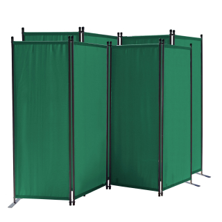 2 Piece Paravent 220 x 165 cm Fabric Room Devider Garden 4-Part Patrition Wall Foldable Balcony Privacy Screen Green