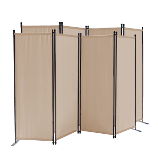 2 Piece Paravent 220 x 165 cm Fabric Room Devider Garden 4-Part Patrition Wall Foldable Balcony Privacy Screen Beige