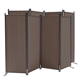 2 Piece Paravent 220 x 165 cm Fabric Room Devider Garden 4-Part Patrition Wall Foldable Balcony Privacy Screen Grey-Brown
